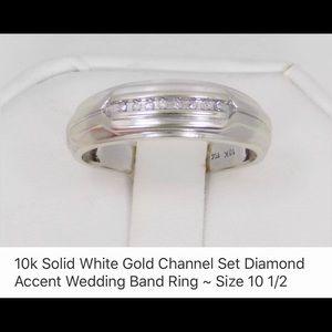 10kt white gold chanel set diamond wedding band